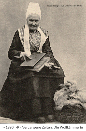 sw Fotopostkarte: betagte Wollkämmerin ~1890, FR