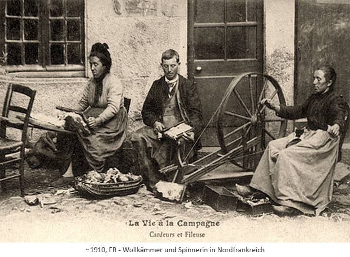 sw Fotopostkarte: Wollkämmer und Spinnerin ~1910, FR