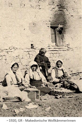 sw Foto: makedonische Wollkämmerinnen in Griechenland ~1920