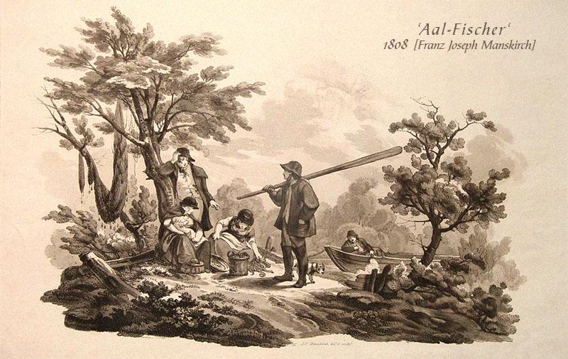Aquatinta: Männer und Frauen mit ihrer Aal-Beute am Flussufer