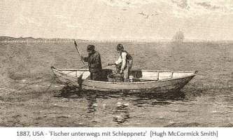 Kupferstich: 2 Fischer im Boot unterwegs mit Schleppnetz - 1887, USA