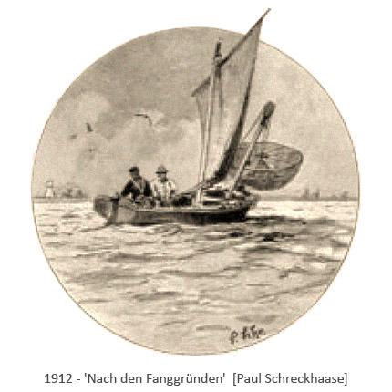Zeichnung: 2 Fischer fahren in Aalschocker zum Fang aus - 1912