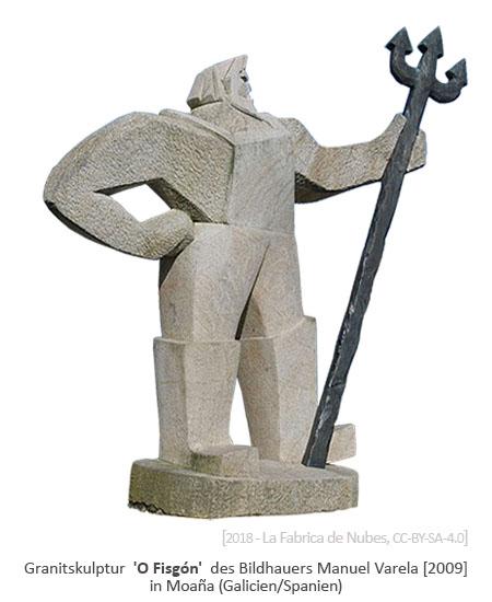 Granitskulptur: Fischer mit Dreizack [M. Varela, 2009] - Moaña, ES