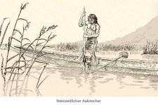 Zeichnung: Steinzeitmensch in einem Einbaum benutzt einen Aalstecher