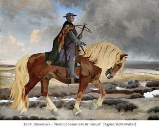 Gemälde: Niels Ebbesen zu Pferd mit Armbrust - 1894, Dänemark