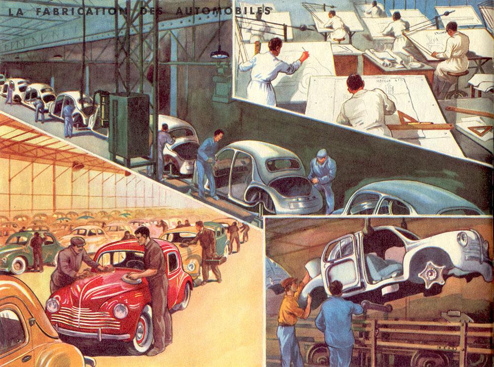 farbige illu: Autobau