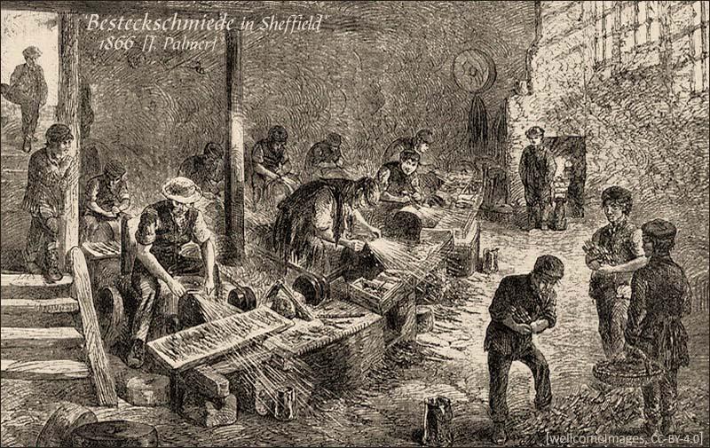 Holsstich: viele Besteckschmiede in Werkhalle - 1866, GB