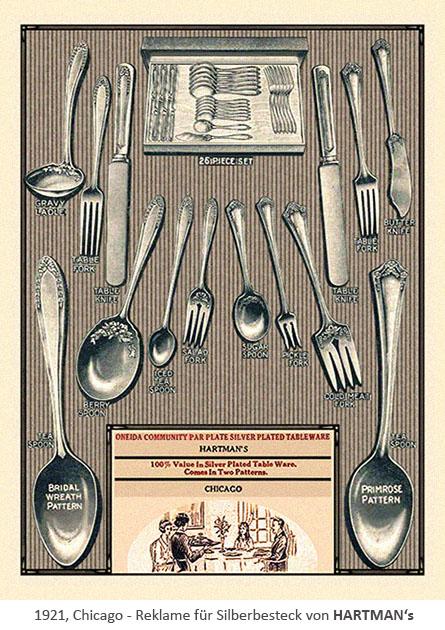 Reklame für Silberbesteck von HARTMAN's - 1921, Chicago