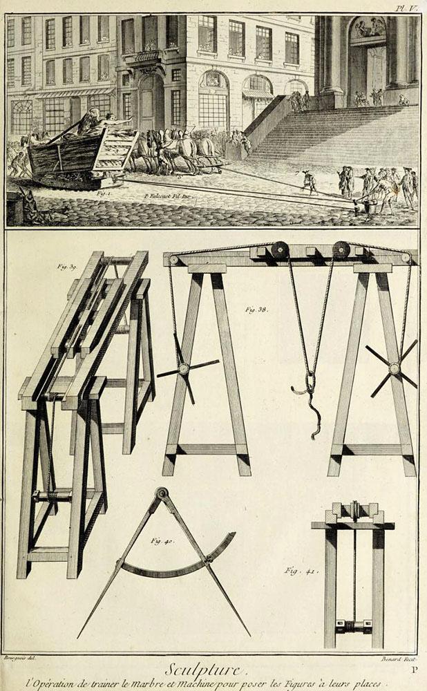 Bildhauer: Hilfsmittel: Holzschlitten und Holzgestelle