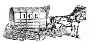 sw-illu: Pferdegespann mit Eistransport