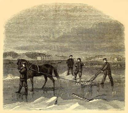 Zeichnung: Eisschneider auf dem Gewässer mit Hilfe eines Pferdes