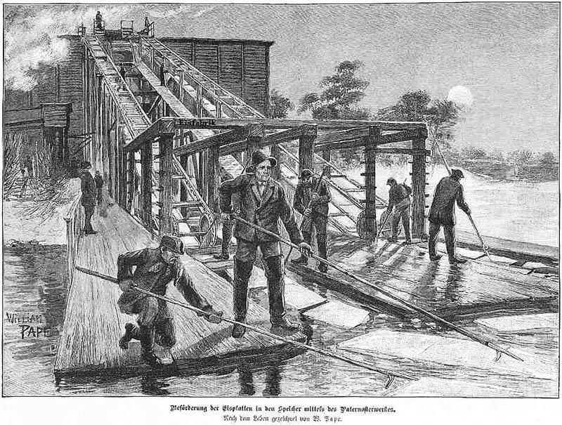 sw-Zeichnung: Männer arbeiten an einer Holzrutsche auf einem vereisten Gewässer