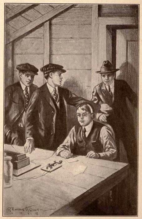 Buchillustration: vier Männer im Funkerraum