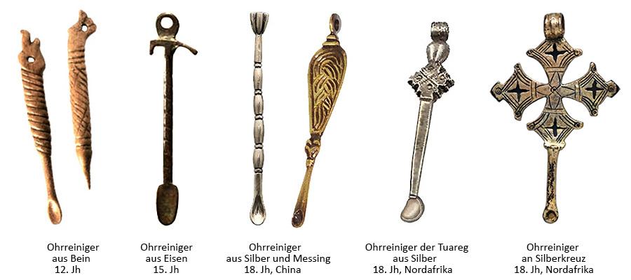 Farbfoto: diverse Ohrenreiniger aus Bein, Eisen, Messing und Silber - 12. bis 18. Jh