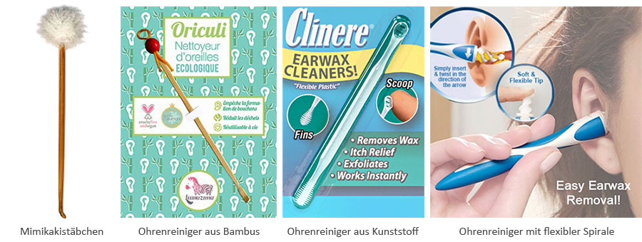 illu: Mimikakistäbchen, Bambuslöffel, flexible Kunststofftools