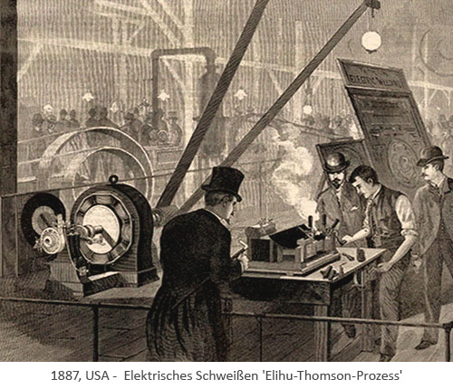 Kupferstich: Vorführung des Elektrischen Schweißens - 1887, USA