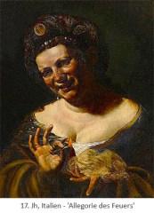 Gemälde: Frau mit brennendem Zündholz u. Zunderschwamm - 17.Jh, IT