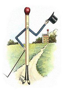 kolorierte Zeichnung: Streichholz als Mann mit Stock und Zylinder ~1930, GB