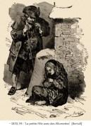 Zeichnung: das kleine Mädchen im Schnee in einer Mauernische sitzend ~1870