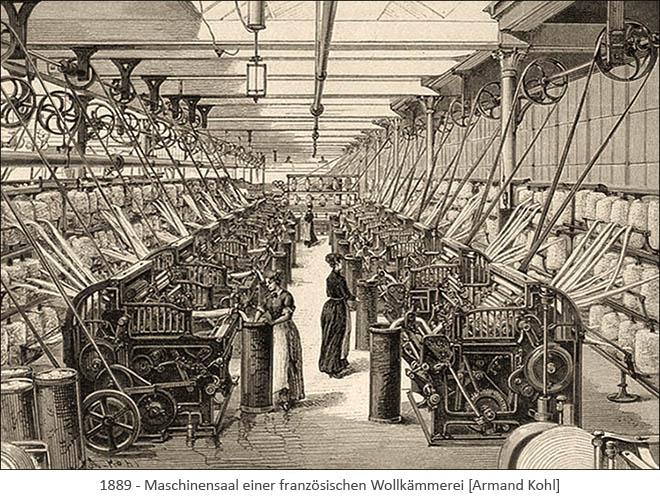 Litho: Maschinensaal einer franz. Wollkämmerei - 1889