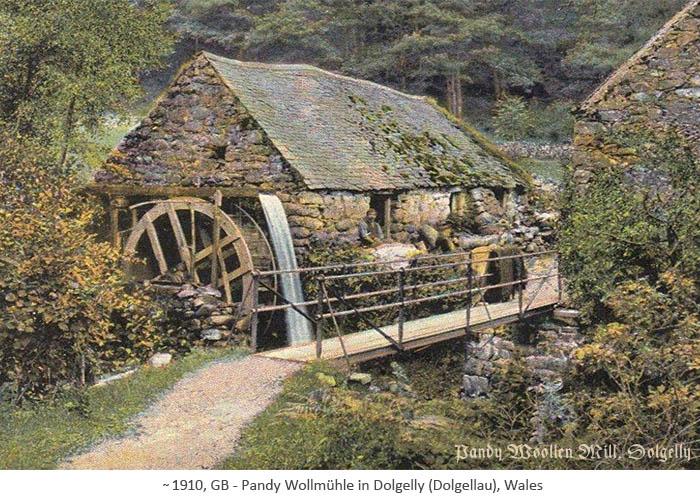 kolor. Fotopostkarte: Außenansicht der Wollmühle mit Wasserrad ~1910, Wales