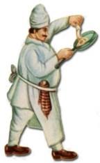 cutout: indischer Koch hält Pfanne in der Hand
