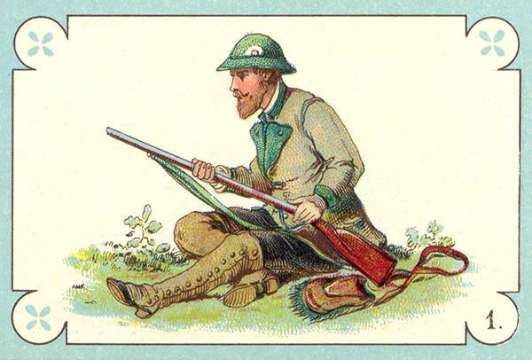 alte Spielkarte: Jägert lauert im Sitzen mit seinem Gewehr