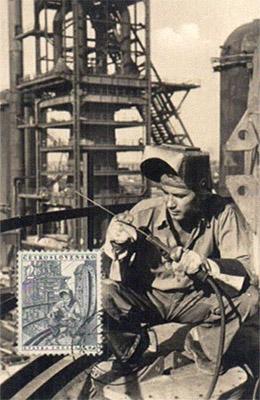 Philateliekarte mit Briefmarke: Schweißer ~1970, ČSSR