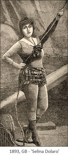sw-Bild: Akrobatin mit Seil