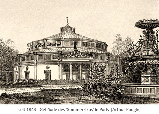 Zeichnung: Rundpavillon des Sommerzirkus in Paris - 1843