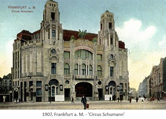 kolorierte Postkarte: Zirkusbau von Circus Schumann - 1907, Frankfurt a.M.