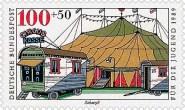 Briefmarke: Zirkuszelt und Kassenwagen- 1989, BRD