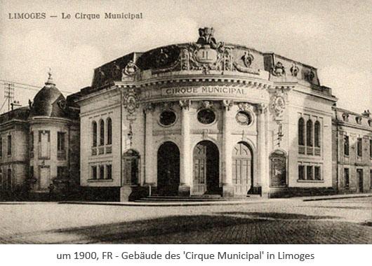 sw Postkarte: Zirkusgebäude in Limoges ~1910, FR