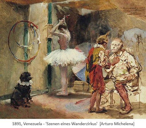 Gemälde: in der Garderobe eines Wanderzirkus - 1891