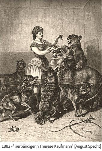 Kupferstich: Tierbändigerin mit gemischter Raubtiergruppe - 1882