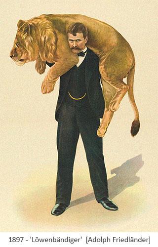 Farblitho: Dompteur hat sich Löwen über Schulter gelegt - 1897