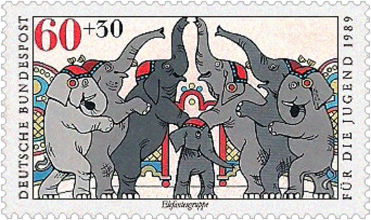 Briefmarke: Elefantengruppe - 1989, BRD
