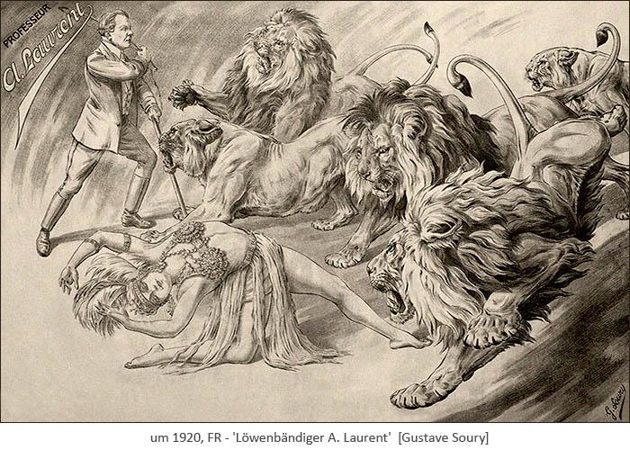lavierte Zeichnung: Dompteur und Akrobatin vor sich wild gebärdender Löwengruppe ~1920, FR