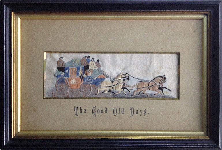 gerahmtes Seidenwebbild: Reisekutsche mit 4 Pferden - 1860, GB