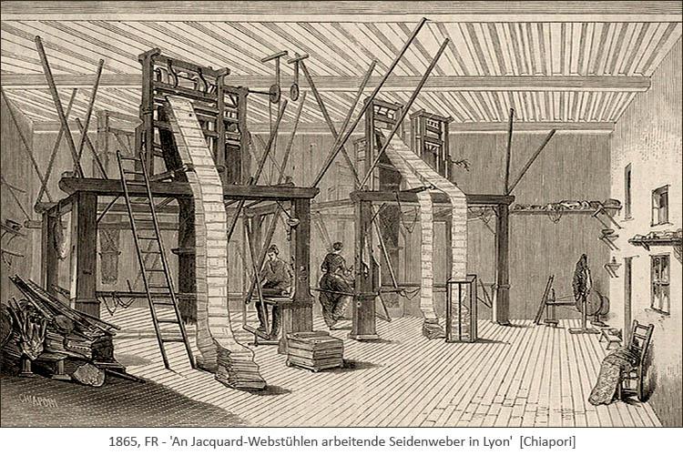 Kupferstich: an Jacquard-Webstühlen arbeitende Seidenweber - 1865, FR
