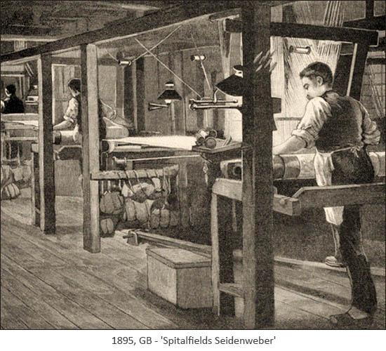 Kupferstich: Spitalfields Seidenweber - 1893, GB