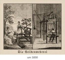 Kupferstich: Frau am Handwebstuhl, Mann am Großwebstuhl ~1830