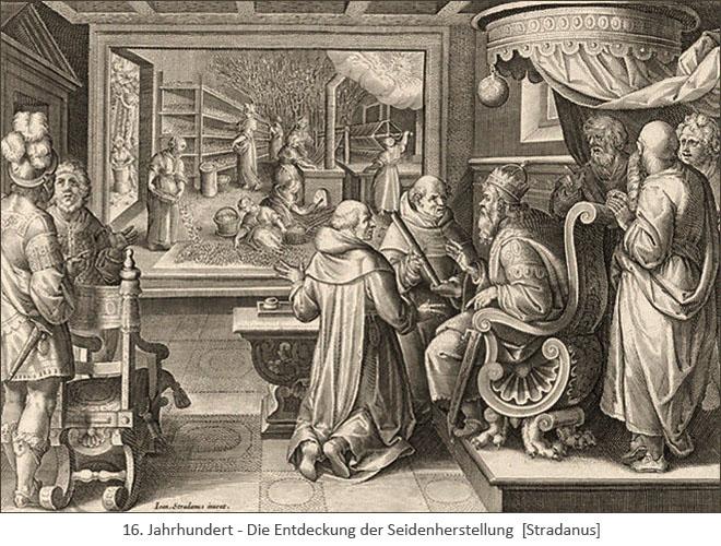 Kupfestich: Mönche berichten Kaiser über die Seidenherstellung - 16. Jh