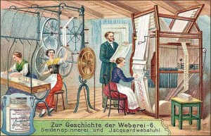 Sammelbild: Seidenspinnerinnen und Weberin an Jacquardwebstuhl - 1906