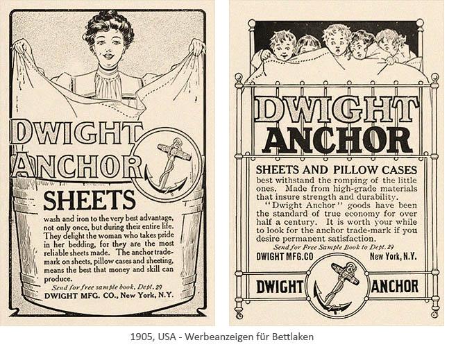 Litho: zwei Werbeanzeigen für Bettlaken - 1905, USA