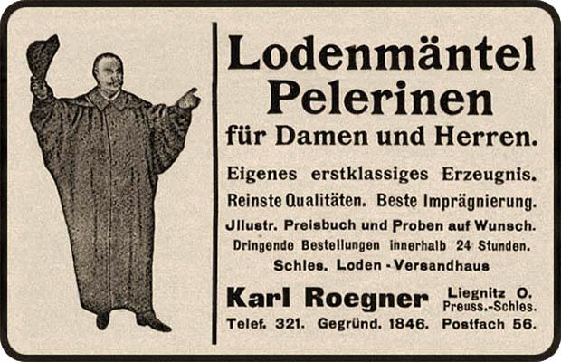 Annonce: Werbung für Mäntel aus Schlesischem-Loden - 1912