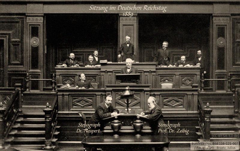 sw Foto: 2 Stenografen bei einer Sitzung im Deutschen Reichstag - 1889