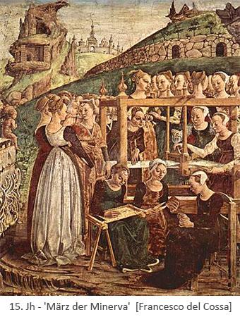Fresko: Minerva bei Weberin und anderen Frauen stehend - 15.Jh, IT