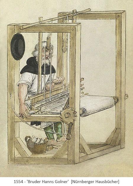 Buchmalerei: Bruder Hanns am Webstuhl - 1554, Nürnberg