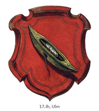 Zunftwappen: Weberschiffchen mit Garnspule auf rotem Grund - 17.Jh, Ulm